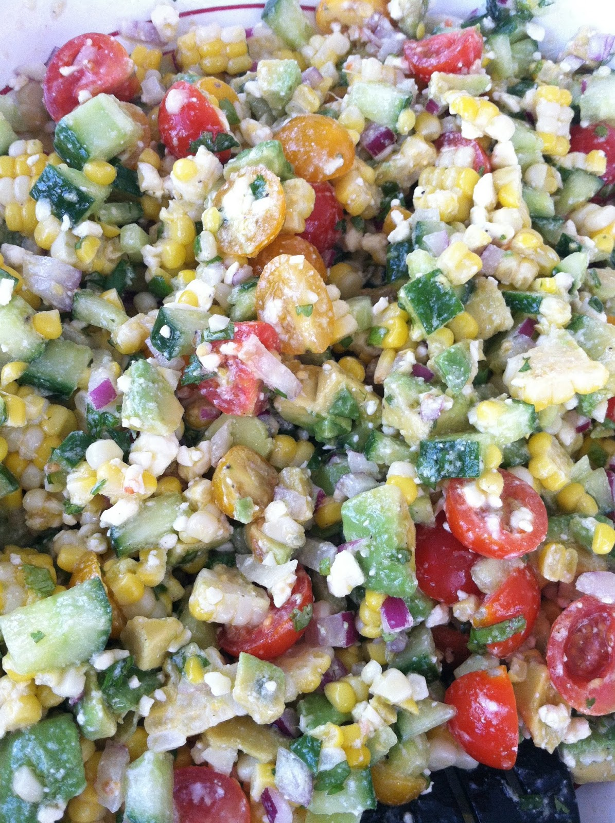 Summer Salad - Corn, Avocado, Tomato, Feta, Cucumber & Red Onion with ...