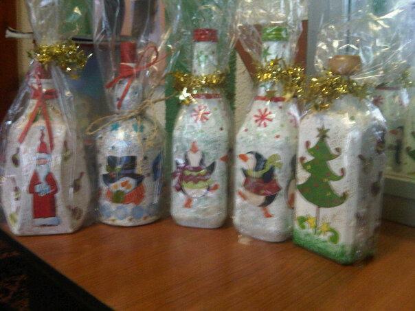 Hand made chata monzon botellas decoradas navide as - Botellas decoradas navidenas ...