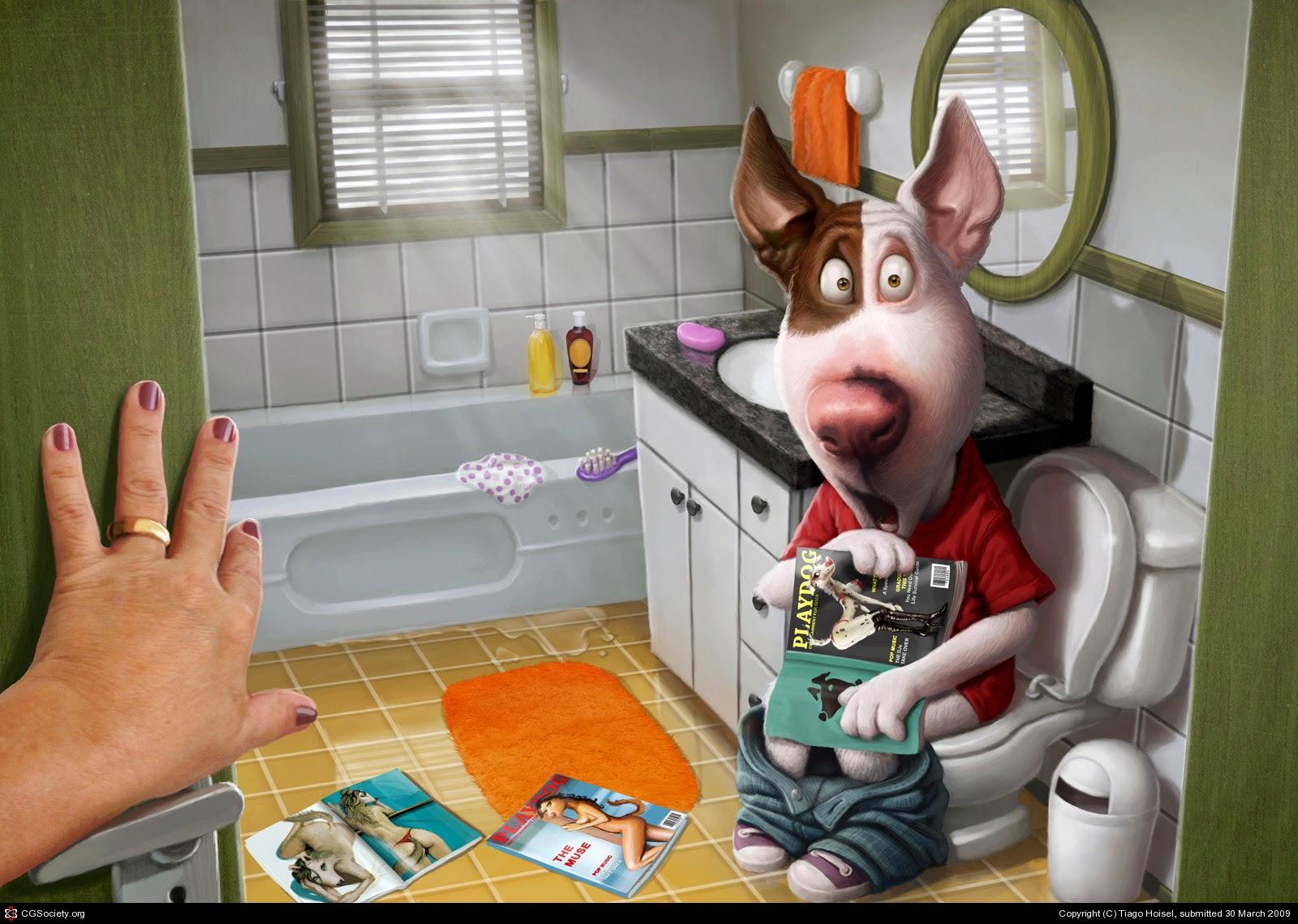 illustration de Tiago Hoisel représentant une personnage chien surpris aux toilettes avec des playdog