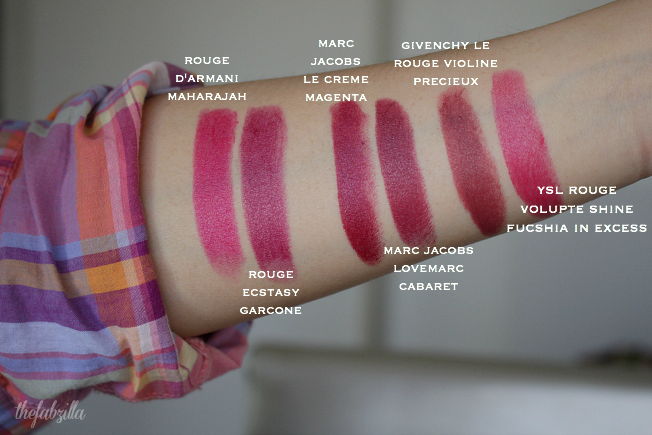 rouge d'armani maharajah swatch review, rouge ecstasy maharajah, garcone, pink blush, review, swatch, ysl fuchsia in excess swatch, marc jacobs la creme swatch review, how to wear hot pink lips