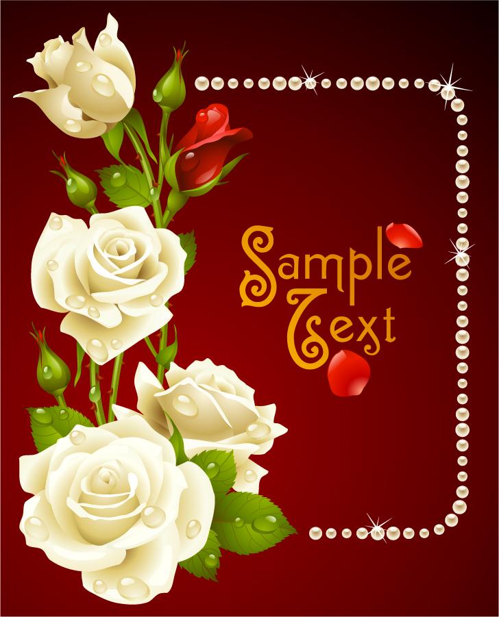 ロマンチックな薔薇のグリーティングカード romantic roses greeting cards イラスト素材3