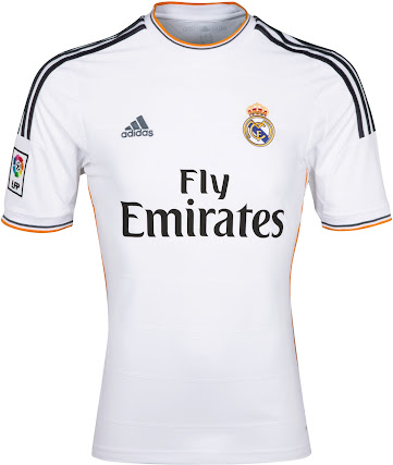 Real Madrid 2013-14 Home Kit features the lettering Real Madrid under