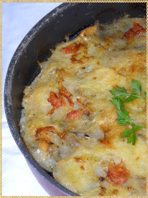 Tiella alla barese Patate riso cozze