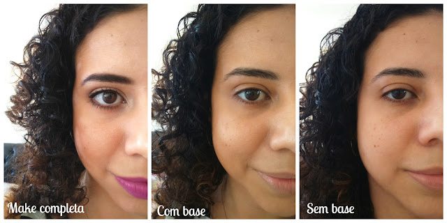 Antes e Depois da base Make B. Color Adapt