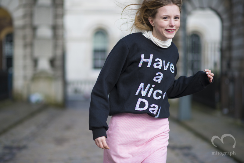 "Blogger Marie Jensen wears ""Have a Nice Day"" Sweater at London Fashion Week 2014 Fall Winter LFW"
