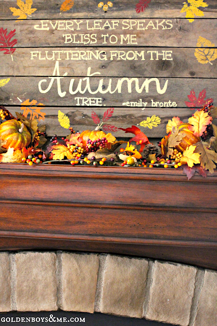 Hand painted and stenciled pallet sign, part of Fall Mantel via www.goldenboysandme.com