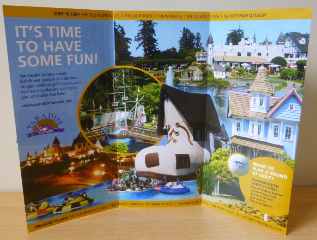 A look inside the brochure for Paradise Fun Park - the mini-golf courses have some very BIG obstacles including a fully rigged pirate galleon, treasure cave, water mill, Victorian mansion, Bavarian clock and a Dutch windmill