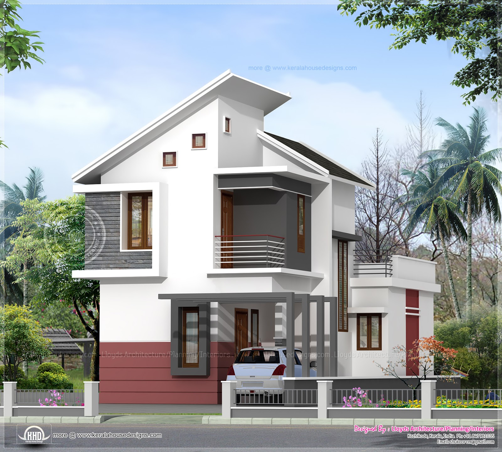 1197 sq ft 3 bedroom villa in 3 cents plot house design