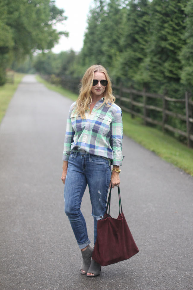 jcrew shirt, ray ban aviators, stuart weitzman booties, mango bag