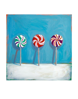 original painting of three lollipops, junk food art, candy paintings