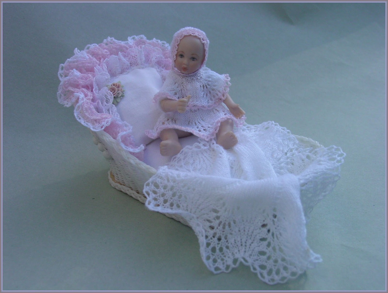 Knitting Pattern For Dolls Moses Basket : Chrystals Designs: Patterns Doll House Linens