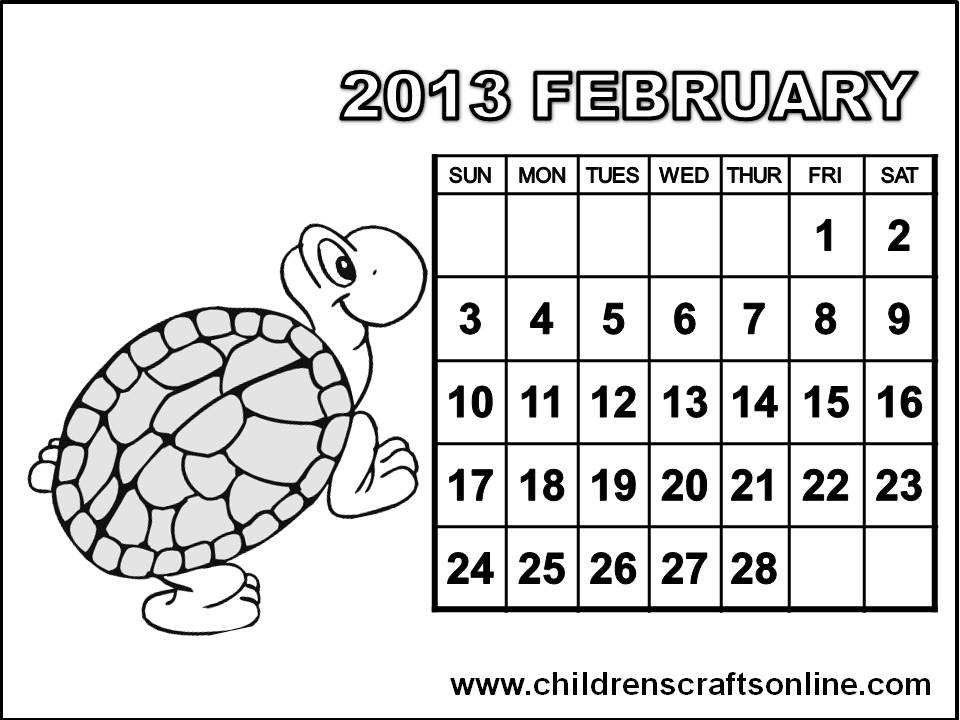 free arts and crafts for children 2013 calendar february coloring