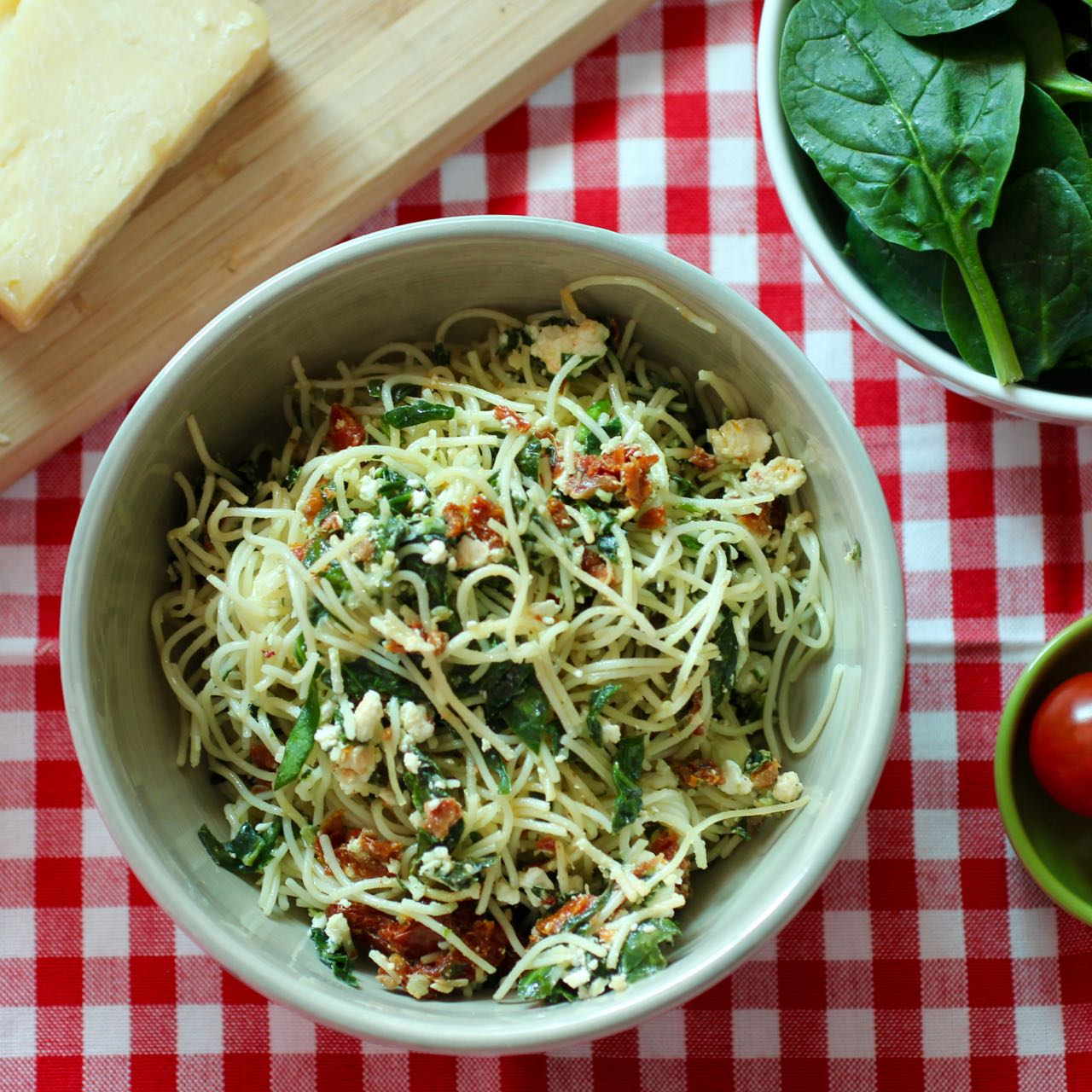 ... Giraffe: Angel hair pasta with feta, sun-dried tomatoes and spinach