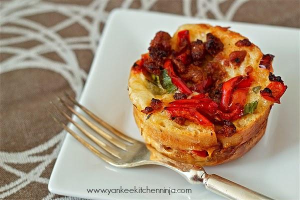 Savory sausage bread pudding muffins | Yankee Kitchen Ninja