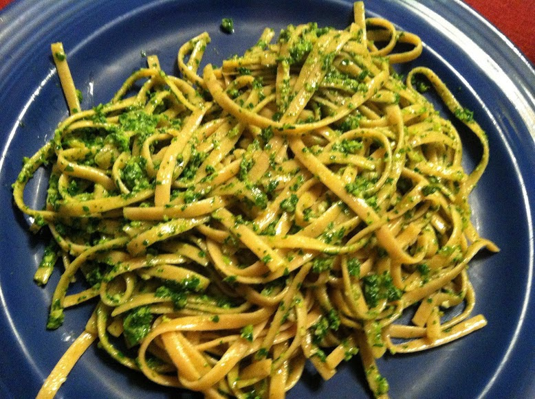 Kale pesto, one of five healthy recipes featured at recent Cooking Chat party.