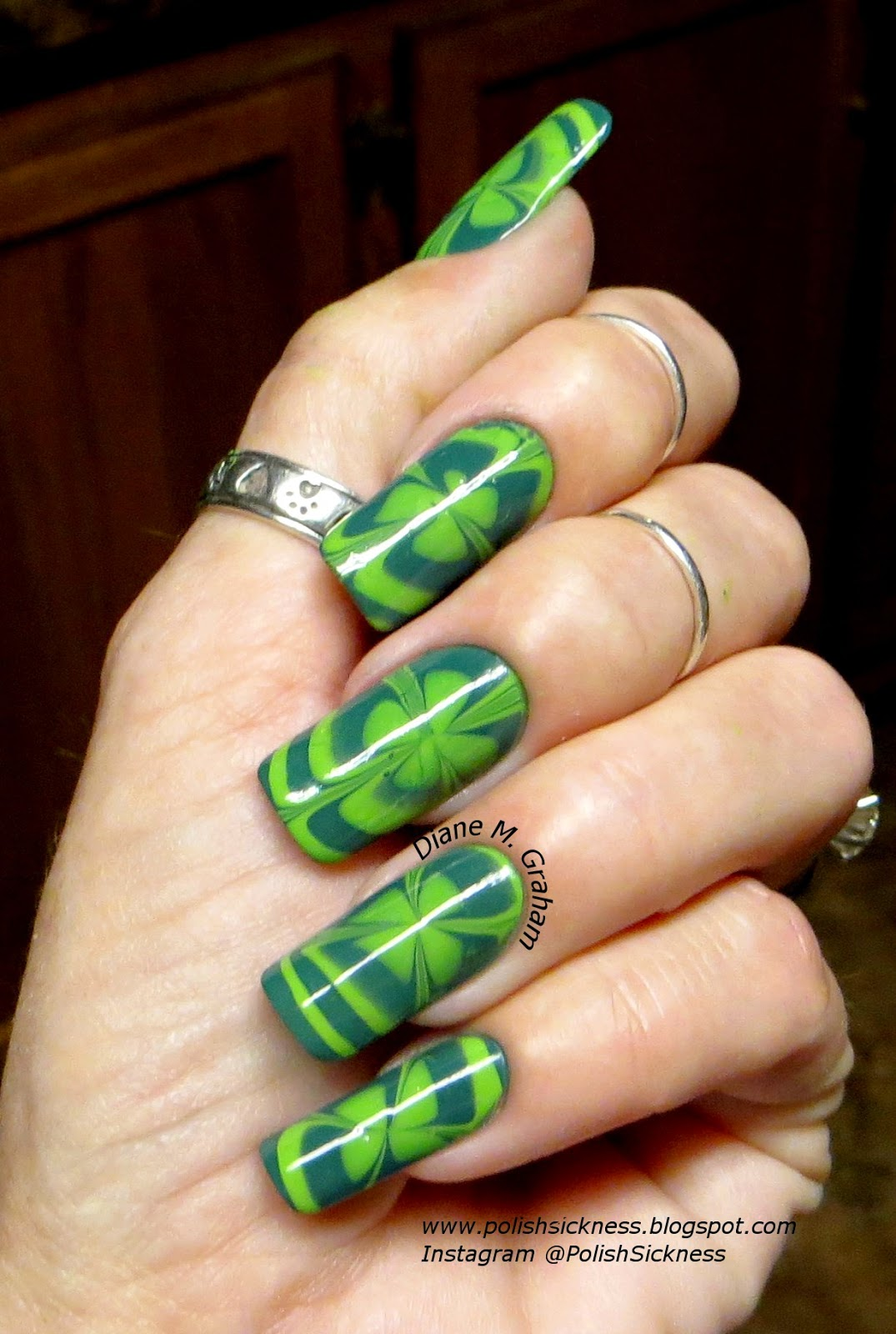 China Glaze Exotic Encounters, Square Hue Flower Power, St. Patrick's Day, shamrock, clover, water marble