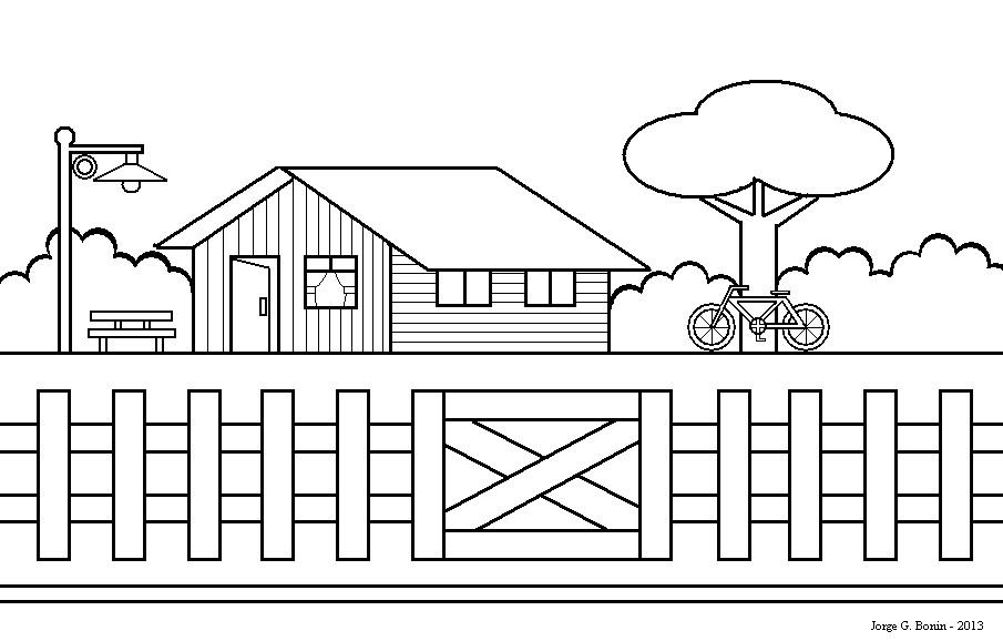 arte no paint desenho para colorir casa bicicleta