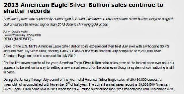 Statistika prodaje ameriških srebrnikov v 2013.