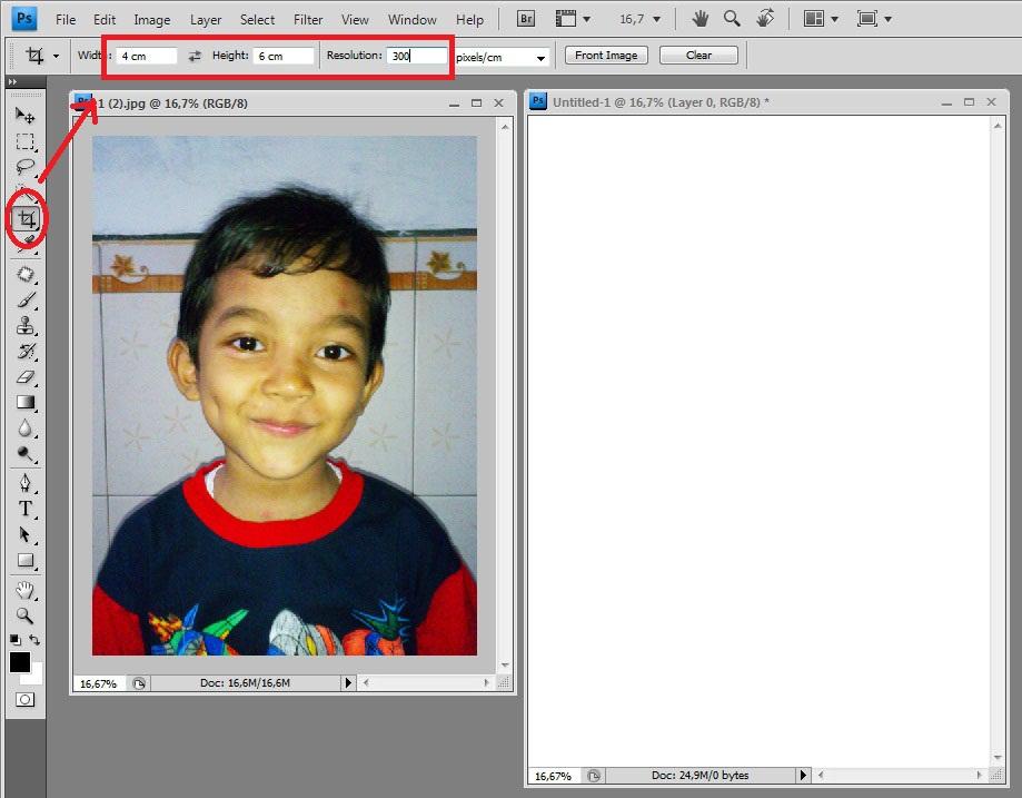 Setelah mengatur ukuran, kemudian seleksiseluruh bagian foto dengan