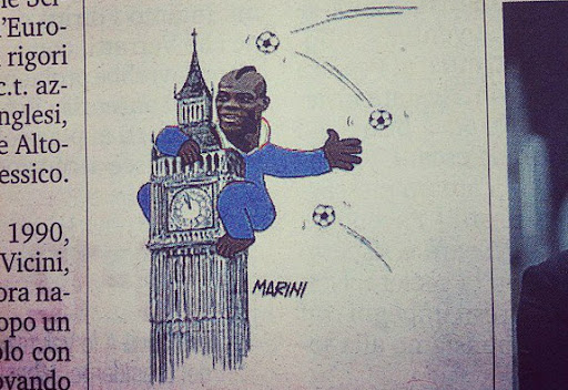Italian newspaper La Gazzetta dello Sport shows Mario Balotelli as King Kong atop Big Ben