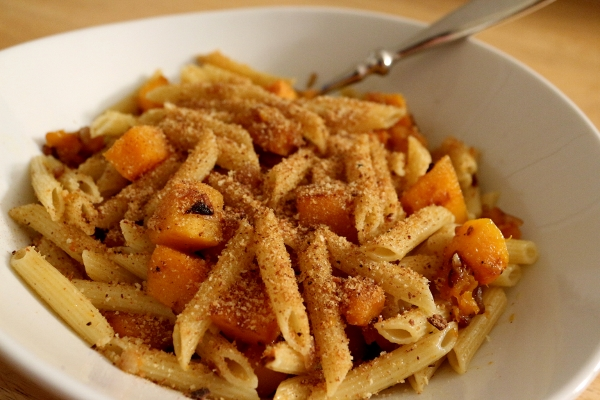 Mission: Food: Penne with Zucca, Onions, Anchovies, and Bread Crumbs
