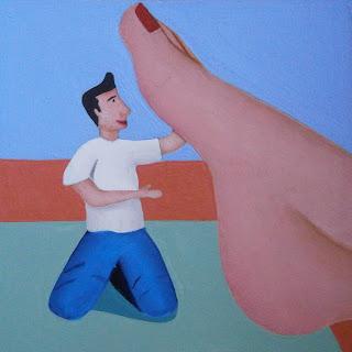 A shrunken man tickling a woman's foot