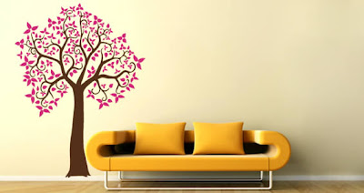 pink tree decal