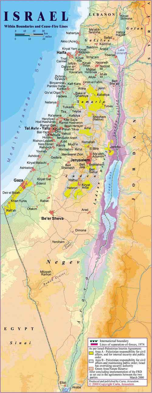 Mapa político Israel