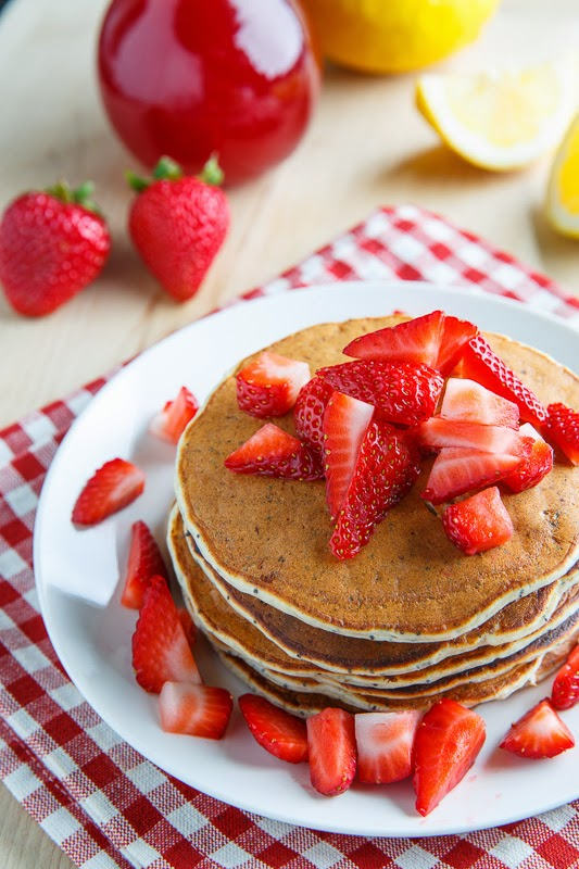 Strawberry Lemon Ricotta Poppy Seed Pancakes on Closet Cooking