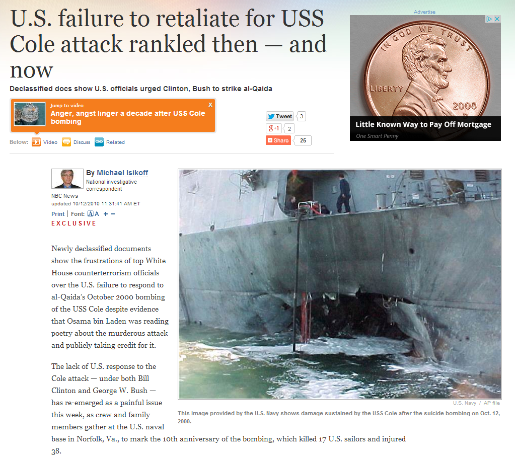 suspect in uss cole bombing kills Who once headed bin laden's bodyguards and would later become a suspect in the attack on the uss cole the hull and kills 17 to the cole bombing.