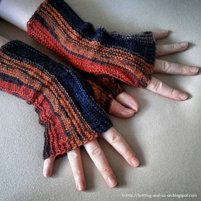 Knitting Pattern Of Gloves : Knitting and so on: Strata Fingerless Gloves