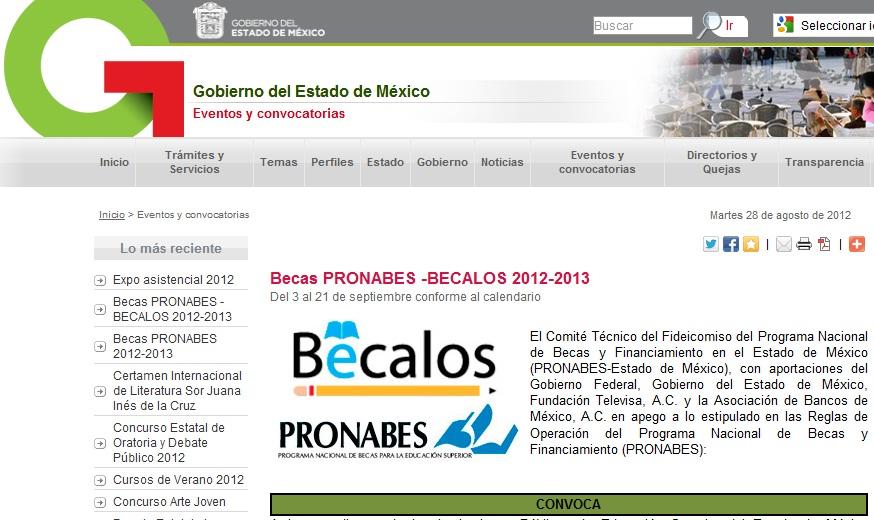 Inscripcion Formato para Becas Pronabes-Becalos calendario registro 2012