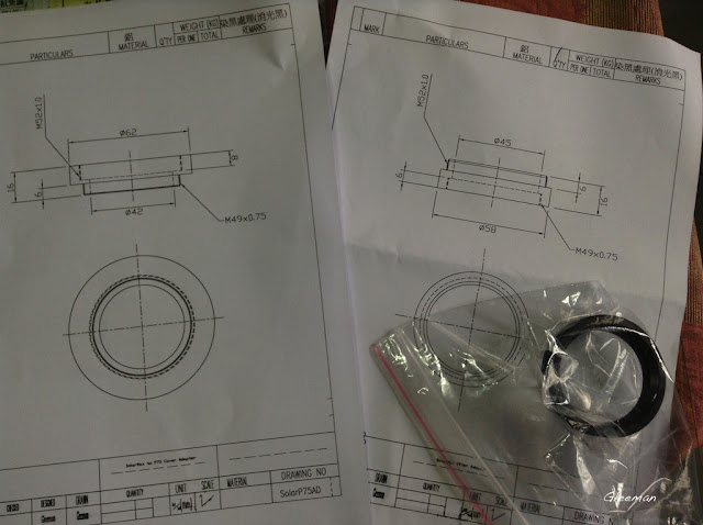 需要留下光學器材的一個方法,那就是你同時委託廠商製作一個配合件(前提是你要改附上可以用來合此配合件的治具),廠商便可用這個配件去配合你原來要制作的轉接環。