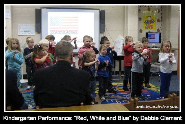 "photo of: Kindergarten Children Performing: ""Red, White and Blue"" by Debbie Clement"
