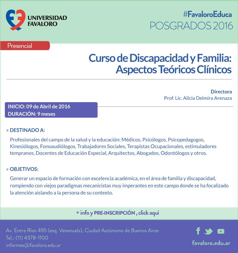 """Curso de Discapacidad y Familia: Aspectos Teóricos Clínicos"""""""