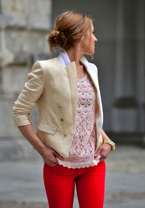Creme Blazer With Baby Pink Lace Sleeveless Shirt And Red Jeans