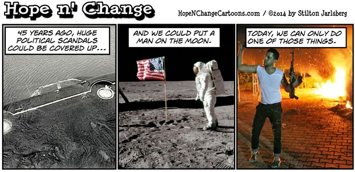 hope n' change, hope and change, obama, obama jokes, cartoon, political, kennedy, kopechne, benghazi, moon, chappaquiddick, stilton jarlsberg, conservative, scandal
