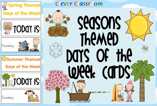 Seasons Themed Days of the Week Cards/Posters