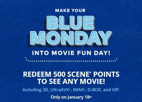 CIneplex Odeon Blue Monday Redeem Points To See Any Free Movie