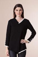 Pulover alb-negru din tricot 1F-382 (Ama Fashion)