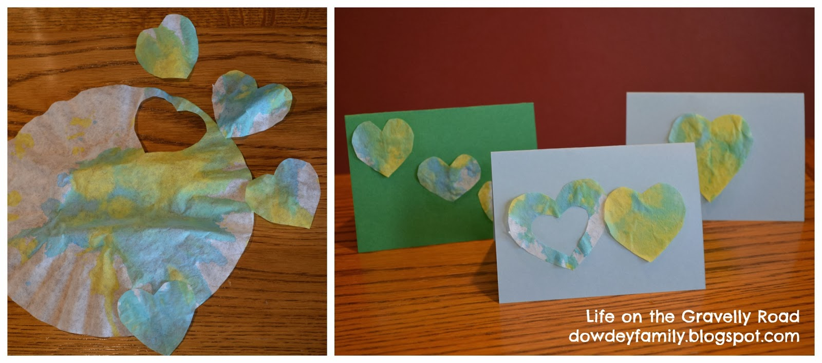 making cards from kids art projects
