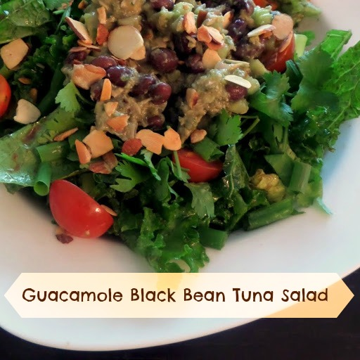 Guacamole Black Bean Tuna Salad:  Canned tuna mixed with black beans and guacamole served on top of a green salad. That's right, a tuna salad with no mayonnaise.