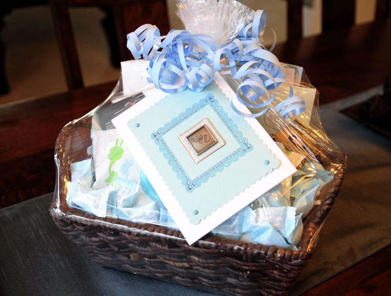 Handmade Basket Gifts : Oshea designs customized paper goodies baby shower gift