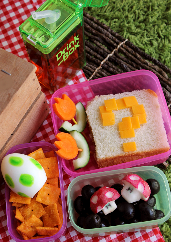 Super Mario Bento- 3 Simple Bento Ideas To Put A Smile On Your Child's Face with Drink In The Box by Eastman Tritan™ (ad)