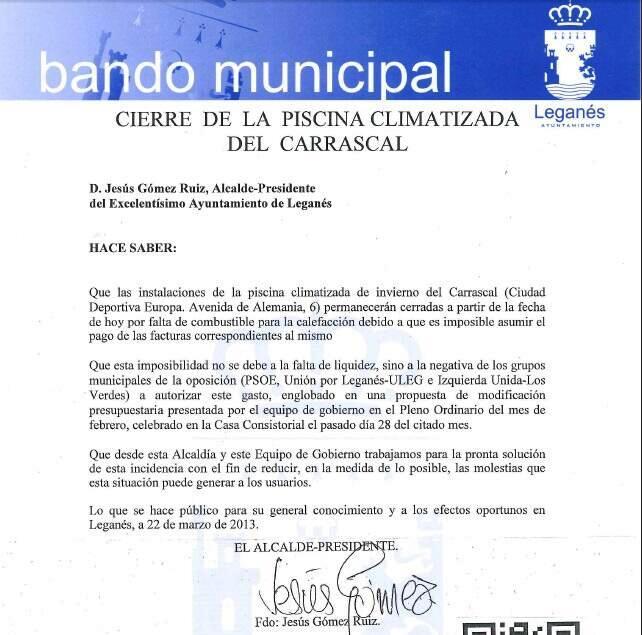 El alcalde comunica el cierre de la piscina climatizada de for Piscina el carrascal