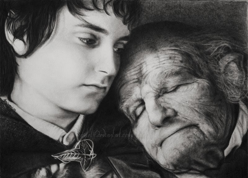 12-Frodo-Baggins-Elijah-Wood-Bilbo-Ian Holm-Josi-Fabri-Esteljf-The Hobbit-LotR-www-designstack-co