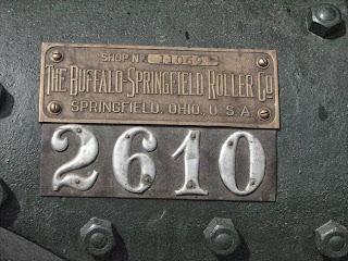 Buffalo Springfield naam geschiedenis - Buffalo Springfield Roller Company naamplaatje
