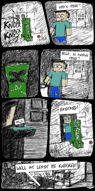 Minecraft comic cartoon funny knock knock joke