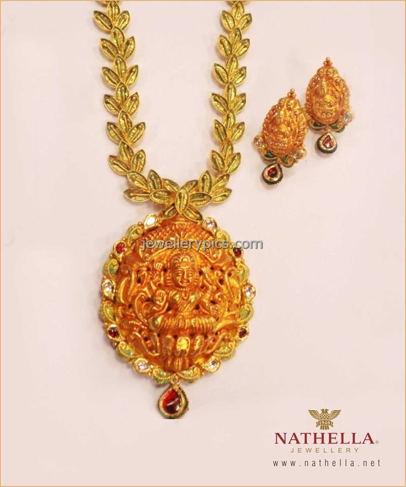 Goddess necklace in gold by Nathella jewellers Latest Jewellery