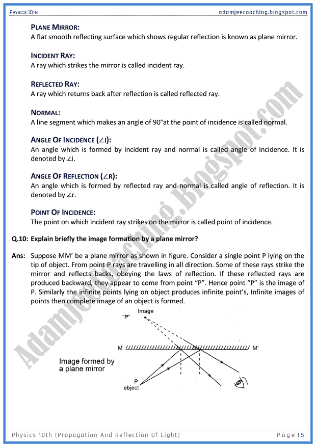 propagation-and-reflection-of-light-question-answers-physics-10th